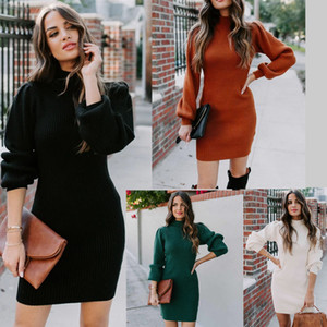 4Colours Womens sexy Slim knitting dress Autumn winter Sweaters dress Casual Long Sleeve street Bodycon dress