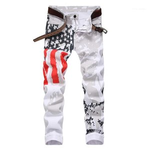 Plus Size Star With Red Striped Pencil Pants Men Fashion Casual Slim Trousers Mens USA Flag White Jeans Man