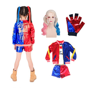 24hrs shipped Harley Quinn Cosplay Costumes For Kids Girls Halloween Jacket Suit with Wig Gloves C0927