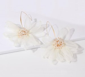 Luxury Designer Jewelry Women Earrings Holiday Style Fairy Air Cloth Art Large Petals Flower Earrings Forest Elegant and Fresh55