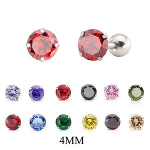1 Pair 4MM Stainless Steel Prong Zircon Ear Tragus Cartilage Earring Ear Stud Ring Body Piercing Jewelry