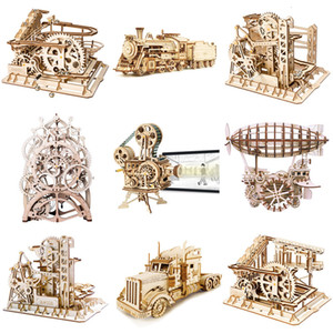 Robotime 3D Puzzle Wooden Model Gear Mechanical Toy Laser Cutting Assembly Building Kit Birthday Gift Toys For Children