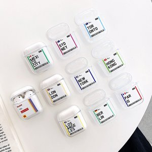 Hot populaire mondiale Ville touristique Barcode Label Case Pour AirPod 2 1 Casque d'écoute Bluetooth de New York Séoul Londres Tokyo Clear cas TPU