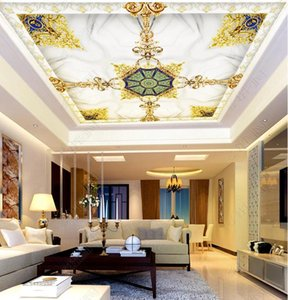 Custom 3d Ceiling wallpapers High-end classical pattern marble wall papers home decor