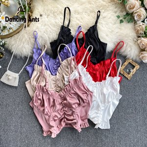 Women Top Sexy Tank Top Satin Crop Tops Strap Vest Short tee Solid Backless Slim Street Causal Woman tshirts 2020 New Fashion