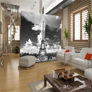 Özel 3D Duvar Resmi Fotoğraf Wallpaper Eyfel Kulesi Paris Şehir Nostalji Gri Duvar Kağıdı İçin Salon Tv Koltuk Arka Plan