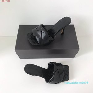 2020 Latest Real leather slippers women shoes Square sole mules , open-toed Woven high heel slipper soft nappa Lido Sandals ,9cm heel t08