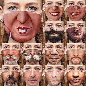 Lustige 3D Human Face Mask staubdichte Art und Weise Druck Baumwolle Masken Waschbar Wiederverwendbare Cycling Maske DHL-freies Verschiffen DHE613