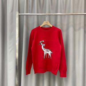 2020 otoño invierno Europa Italia ciervos flor de lana de alta calidad tejer informal suéter de la manera de los hombres rojos de las mujeres streetwear suéter de lana