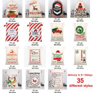 Noël Sacs cadeaux Grand sac fourre-tout organique lourd Père Noël Sac Sac à cordonnet avec Reindeers Père Noël Sac de jute Sacs pour les enfants