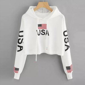 Sweatshirt For Girls American Flag USA Letters Print Hoodie Summer Short Drawstring Hooded Pullover Female Tops 19DEC31