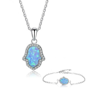 10 Set Trendu Many Colors Hand Shape Opalite Opal Pendant Necklace Bracelet for Women Silver Plated Jewelry Set