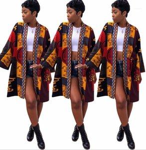Medio Lungo Giacche Primavera Estate accappatoio tipo giacca Vintage Flora Stampa Cappotti per la donna New Fashion