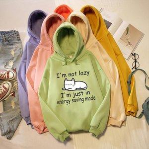I Am Not Lazy Letter Cat Cartoon Print Warm Oversized Hoodie Kpop Sweatshirt Harajuku Streetwear Kawaii Womens Jacket Soft Meng