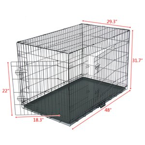 WACO Dog Crate | Extra-Strong Double Door Folding Metal Dog Houses, Roller Feet Leak-Proof Plas Divider Panel Floor Protecting Kennel Black
