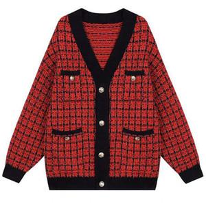ALTA QUALIDADE Outono Inverno New Fashion 2020 Designer Sweater Cardigan Mulheres V-neck de luxo frisada Knitting Jacket Outer Roupa CX200814