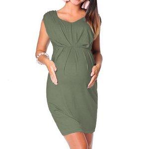 여름 새로운 패션 출산 임신 여성 Sleevel Bodycon 박사 섹시한 솔리드 박사 도매 무료 배송 Z4 옷