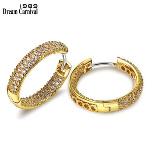 DreamCarnival1989 High Quality Fashion Hoop Earrings for Women Rhodium Gold Color Cubic Zirconia Drop Shipping Wholesale SE04633 200924