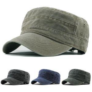 Moda Flat Top Hat Erkek Vintage Açık Unisex Casual Pamuk Asker Denim Güneş Şapkası Siperlik Katı Düz beysbol kasketi Caps