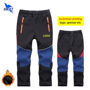 Customize LOGO Winter Fleece Kids Waterproof Softshell Pants Boys Girls Windproof Sportswear Outdoor Hiking Camping Ski Trousers