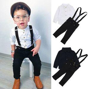 2020 Children boys gentleman outfits baby Shirt top+suspender+pants 3pcs sets Autumn kids Clothing Sets 2 colors C5415
