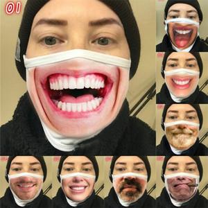Maschera Funny Face Moda anti Haze dente Bocca respiratore Barba riutilizzabile donna Mascarilla cotone Protezione panno Earloop Breath Man 4mg B2