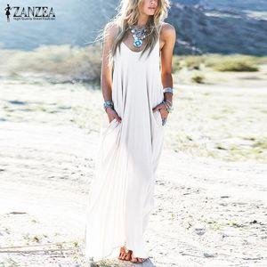 2020 ZANZEA Summer Dress Women's Sundress Strap Maxi Dresses Female Sleeveless Robe Femme Sexy V-neck Beach Vestidos 5XL