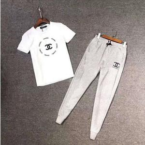 2020 celebridad web para hombres y mujeres en el mismo traje de diseño casual traje de pantalones de manga corta deporte, puente impresa, camiseta y pantalones