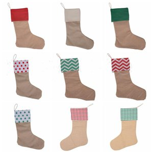 Christmas Stocking Children Large Size Plain Decorative Socks Candy Canvas Xmas Stocking Bags Christmas Decorations Christmas Gift GWA845