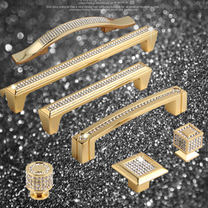 Cabinet Knobs and Handles Super Luxury 24K Real Gold Czech Crystal Drawer Furniture Knobs Pull Handles Door Handle ,Not Fade
