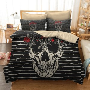 FANAIJIA 3d Sugar Skull Duvet Cover with Pillowcases Skull Luxury Bedding Sets Queen Size Bed Sets T200814