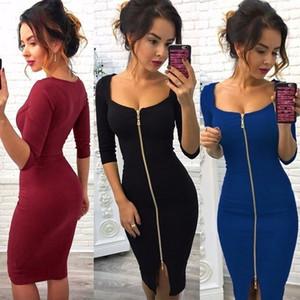 Güzel En Yeni Moda Yaz Elbise Moda Kadın Kare Yaka Fermuar Katı Renk İnce Kemer Şık Elbise Lady Casual Parti