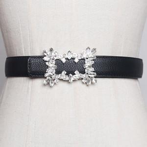 SeeBeautiful New Fashion 2020 Summer Autumn PU Leather Girdle Crystal Rhinestone Irregular Buckle Girdle Long Belts Women U171 Y200807