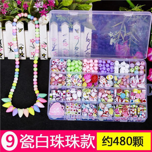 DIY Handmade Bead Toy with Accessory Set Creative Girl Jewelry Making Hair Clip Headband Hair Band Rubber Band Toy Children Gift