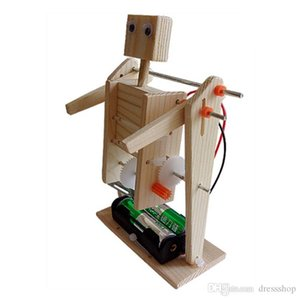 school DIY Electric Gymnastics Robot Wood Assembly Model Chuangke Science Experiment puzzle toy