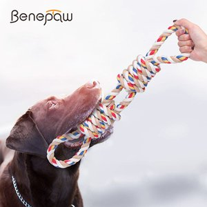 Benepaw 2 Handles Medium Large Dog Rope Toys Play Tug Game Durable Heavy Duty Interactive Puppy Pet Toys Cotton Teeth Cleaning