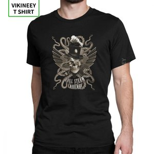 Steampunk T-Shirts Retro Mechanical Gearwheel Full Steam Ahead T Shirt Man Designer Tops Vintage Crew Neck Cotton Tees