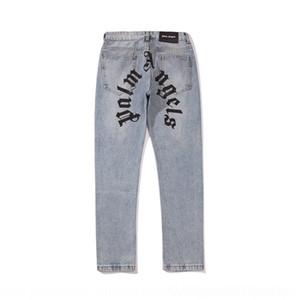 WJLfI hiver Automne Nouveau palmier bleu paume et lettre d'impression des jeans et des pantalons décontractés ange pantalons pantalons casual jeans hommes les femmes