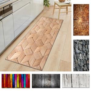 1pc Kitchen Carpet Mat Wood Grain Printed Non-slip Floor Mat For Living Room Door Mats Entrance Decoration Floor Carpet^