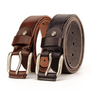 Leather Belt Mens Genuine Leather Youth Waistband Casual Pin Buckle Belt Full-Grain Leather Handmade Vintage Cool Washed Bag Buckle