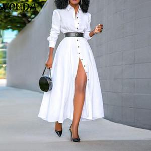 VONDA shirt del vestito da 2020 casuale delle donne di colore solido manica lunga ufficio elegante signore sexy del partito Split lungo Vestidos 5XL