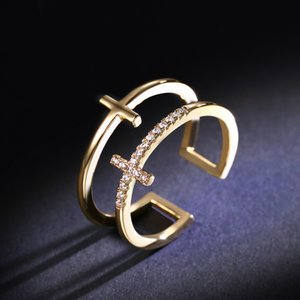 طبقة مزدوجة أنثى فنجر خواتم مثلج خارج الماس 18K الذهب فاخر مجوهرات أنيقة سخية للحزب النساء خواتم الخطبة اكسسوارات