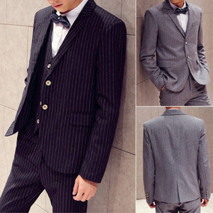 Hot Sales Latest Stripe Mens Suits 3 Pieces Fashion Custom Made Business Tuxedos Wedding Groomsmen Outfit(Jacket+Pant+Vest+Tie)
