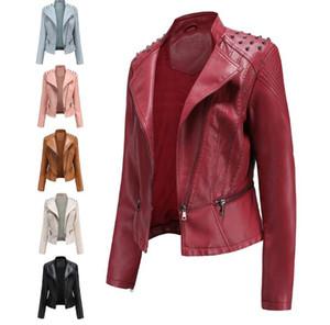 Damen Lederjacke neuer hochwertiger dünner Herbst Dünnschliff kleine Jacke Damen PU-Outwear dünner Biker Fashion Rivet Mantel