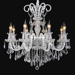 European Clear White Hanging Chandelier Stair Long Candles Crystal Chandelier Fixture Staircase Lighting Stairs Long Hanging Chandeliers