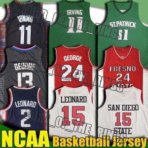 NCAA San Diego University Kawhi 15 Jersey Leonard Paul 13 George Jerseys Kevin 7 Durant Jersey Kyrie 11 Jersey Irving College Camisa 8-30