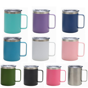 12oz Stainless Steel coffee Mugs 12OZ Beer Cup with handle sealing Lid Double Walled Insulated Tea coffee mugs Outdoor travel cup 10 colors