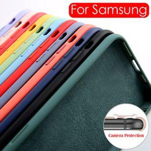 Жидкий силиконовый телефон чехол для Samsung Galaxy A50 A70 A51 A71 S9 S10 S20 Plus Примечание 8 9 10 20 Ultra Soft Shockproo Ultra Soft противоударный чехол