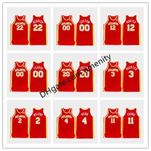 ЯстребыAtlanta22 Красноватые 11 Young 15 Картера 4 Уэбба 2 Malone баскетбольного Cam Trae Vince Моисей Spud факел Джерси красного значок