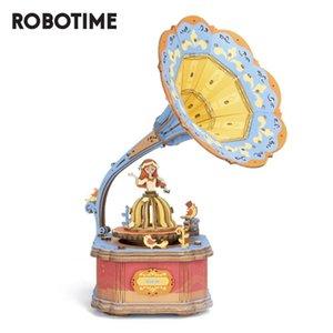 خمر للصندوق خشبي عيد الميلاد لعب الجمعية عيد ميلاد الأطفال الفتيات Robotime نموذج الموسيقى مبنى أطقم هدية Gramphone TdyMz
